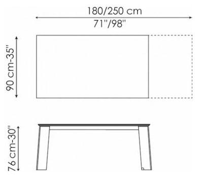 tavolo allungabile moderno Flag Bonaldo misure
