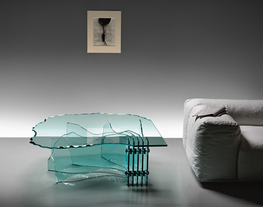 tavolino in vetro Shell Fiam Arredare Moderno