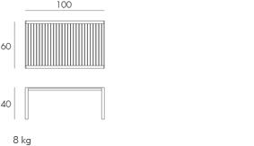 Tavolino Aria 100 Nardi misure e dimensioni
