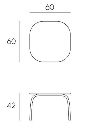 Tavolino Loto Relax 60 Nardi misure e dimensioni