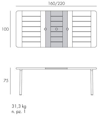 Tavolo Maestrale allungabile 220 Nardi misure e dimensioni