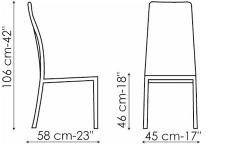 Sedia bonaldo modello milena arredare moderno for Sedia misure