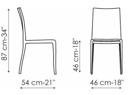 Sedia bonaldo modello pangea arredare moderno for Sedia misure