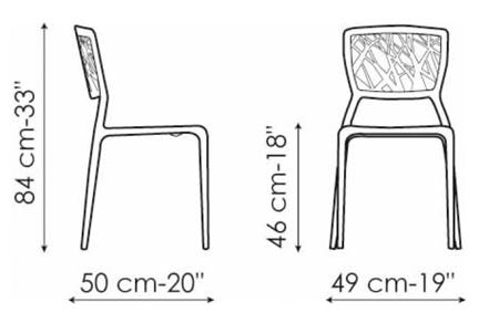 Sedia Viento Bonaldo misure e dimensioni