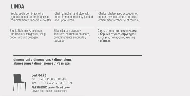 Chaise Linda Bontempi Casa dossier bas dimensions