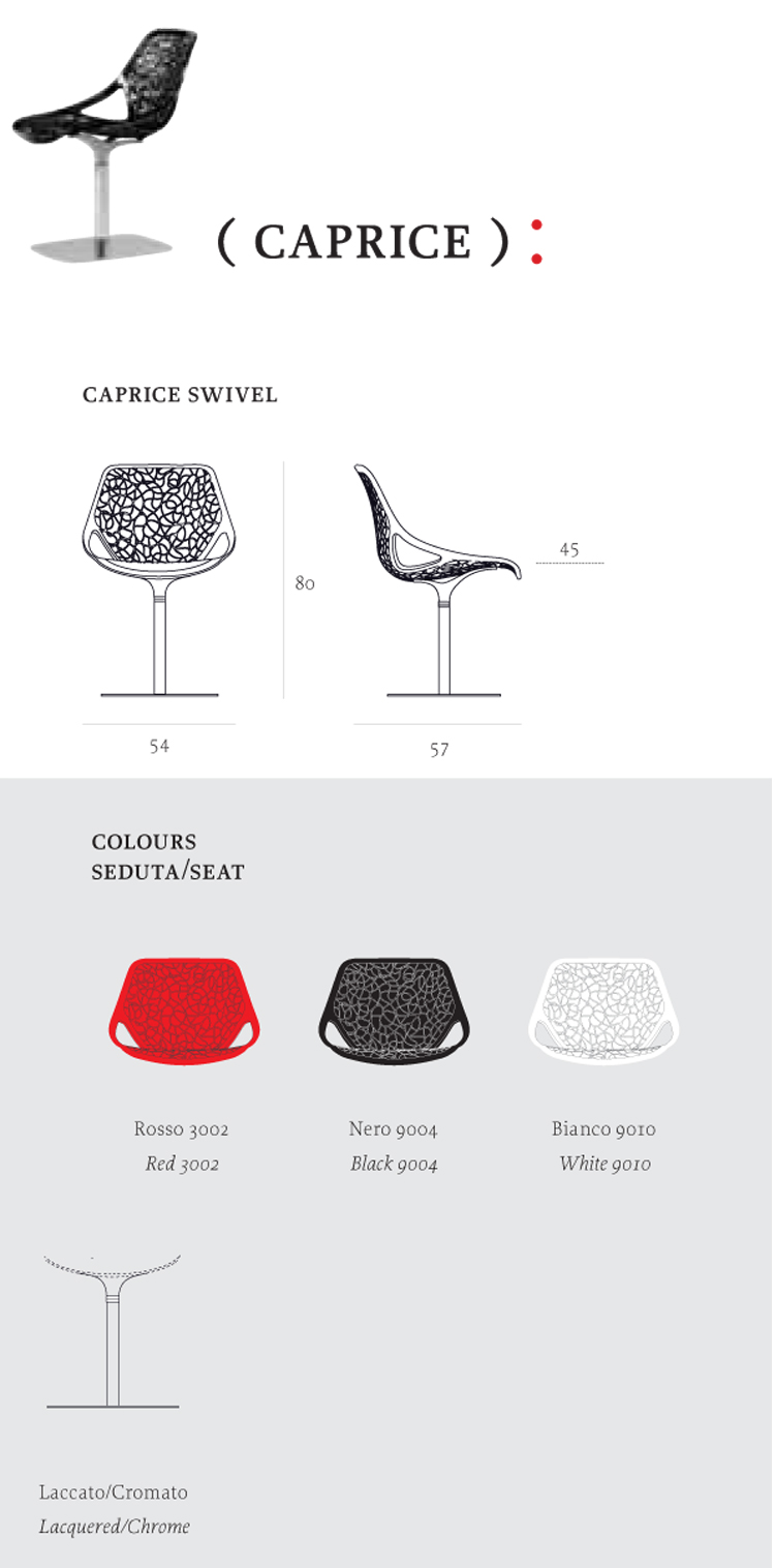 Caprice Chair Casprini column version dimensions and colors