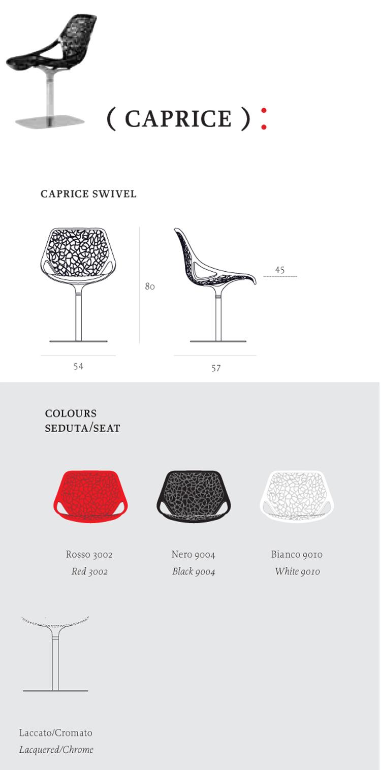 Caprice Chair Casprini column version dimensions and colors