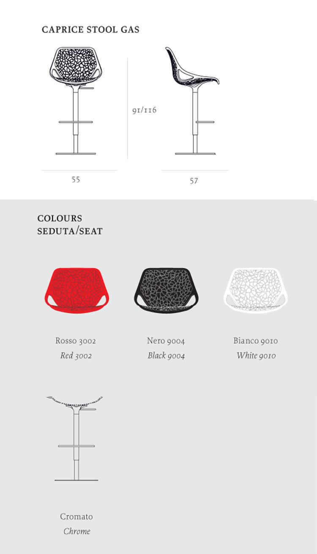 Sgabello Caprice Casprini misure e colori