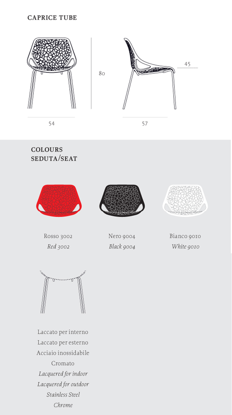 Caprice Chair Casprini tube version dimensions and colors