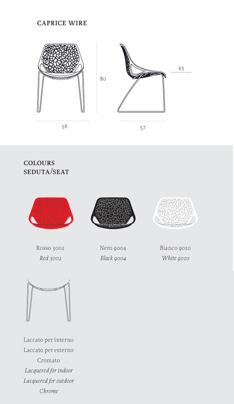 Sedia Caprice filo Casprini dimensioni e colori