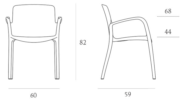 Chaise Tiffany Casprini avec accoudoirs mesures et dimensions