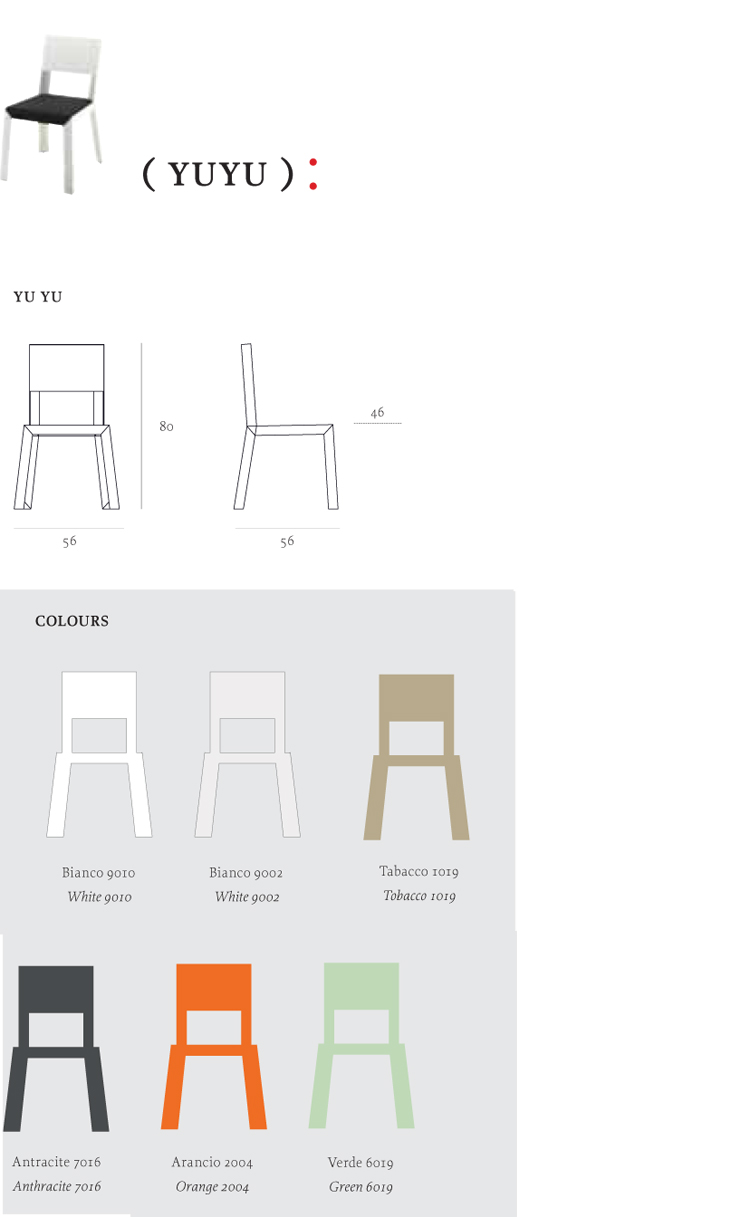 YuYu Chair Casprini dimensions and colors