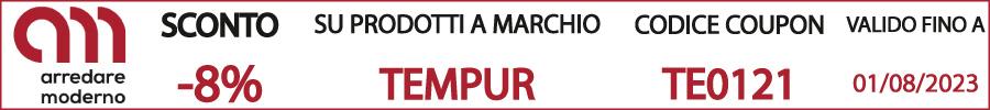 codice sconto coupon tempur design