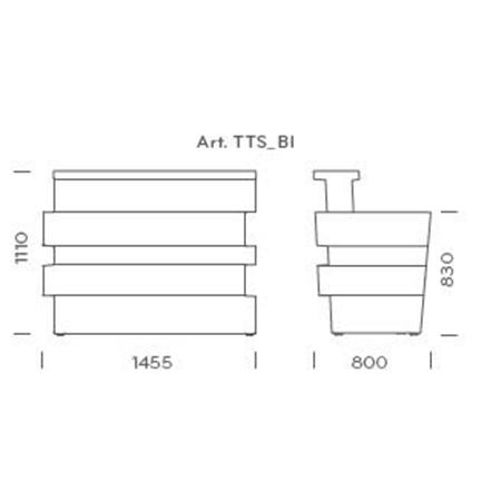 Bar Comptoir Tetris Illuminable Pedrali dimensions
