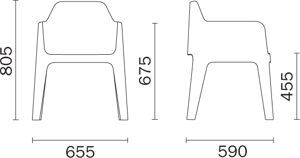 Chaise Plus Pedrali dimensions