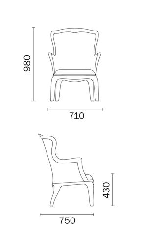 Fauteuil Pasha Pedrali dimensions