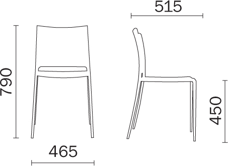 Chair Mya Pedrali dimensions