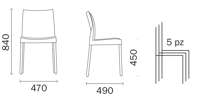Chair Ice Pedrali dimensions