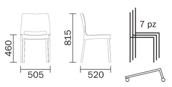 Joi Chair Pedrali dimensions