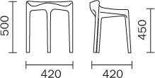 Tabouret Happy Pedrali dimensions