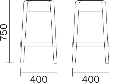Tabouret Rubik Pedrali dimensions