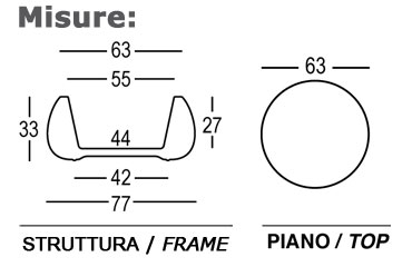 Tavolino / Vaso T Ball Plust dimensioni e misure