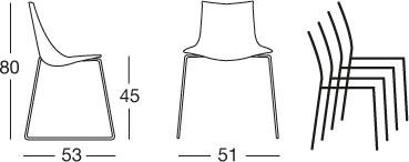 chaise-zebra-à-traineau-scab-dimensions