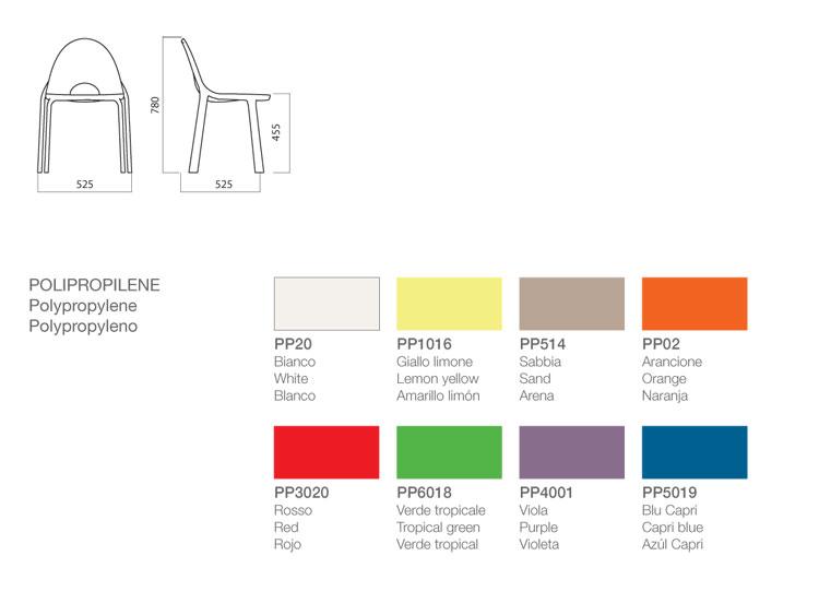 Sedia Drop Infiniti Design dimensioni e colori
