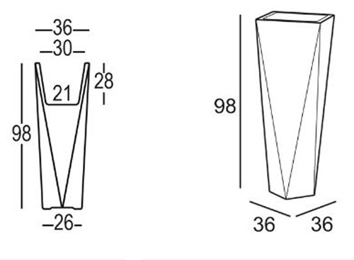 Vase Diamond Plust h98 dimensions