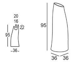 Madame Vase Plust h. 95 Abmessungen und Größen