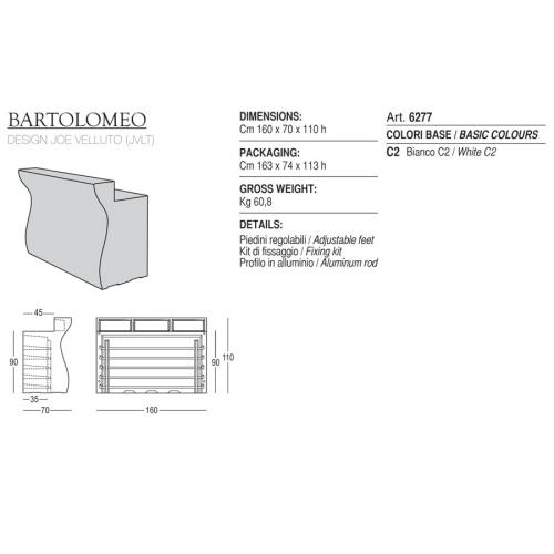 Bancone bar BARTOLOMEO PLUST versione NON ILLUMINABILE