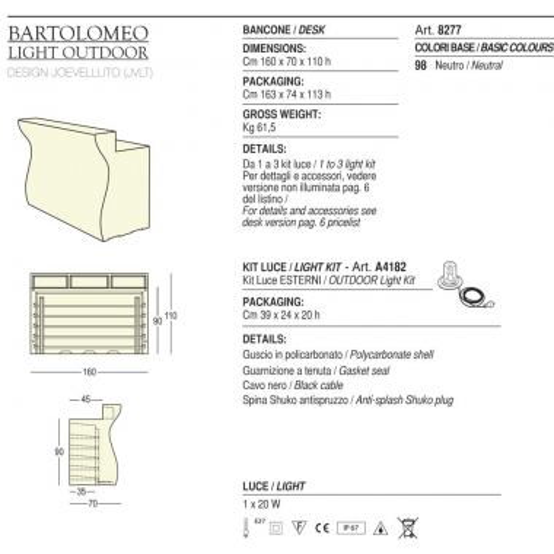 Bancone Bartolomeo illuminabile Plust
