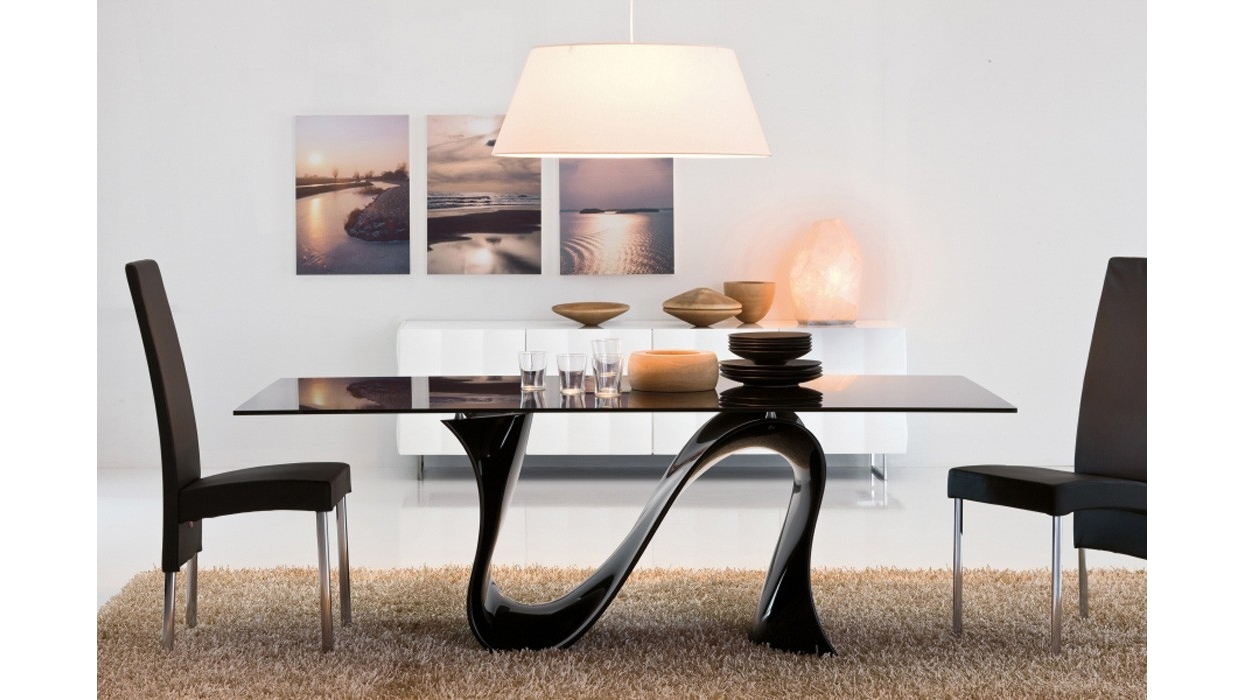 Tavolo tonin casa modello wave fisso vetro ceramica for Piani moderni in vetro