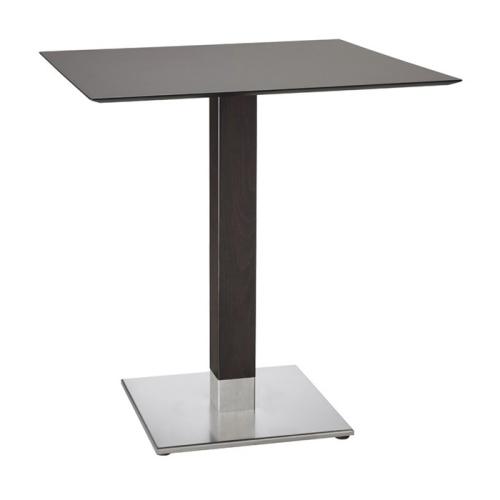 Tavolino Bar Natural Tiffany Scab H.75 con piano in acciaio e base quadrata