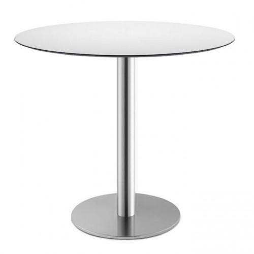 Tavolino Bar Tiffany Scab Design h 75 colonna tonda piano in acciaio