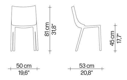 Sedia Bo Driade dimensioni