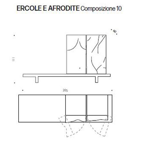 Contenitore Ercole e Afrodite Driade composizione 10 dimensioni e misure