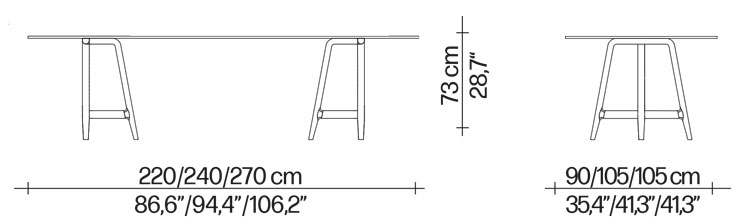 Table Easel Driade en bois dimensions