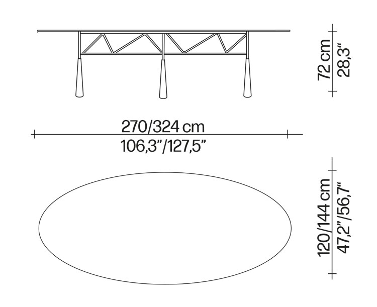 Tavolo Lybra Driade dimensioni