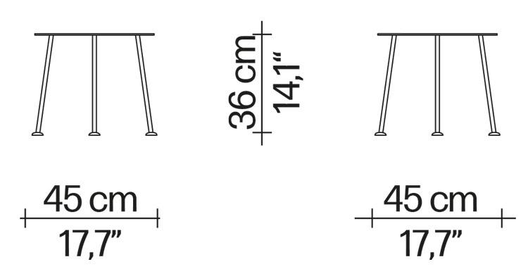 Tavolino Picapica Driade dimensioni