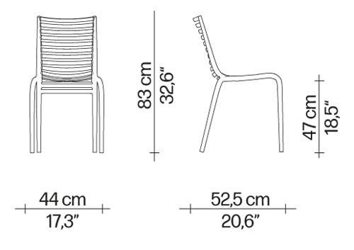 Sedia Pip-e Driade dimensioni