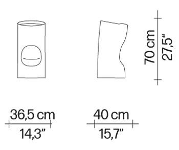 Tokyo-Pop Hocker Driade Abmessungen und Größen