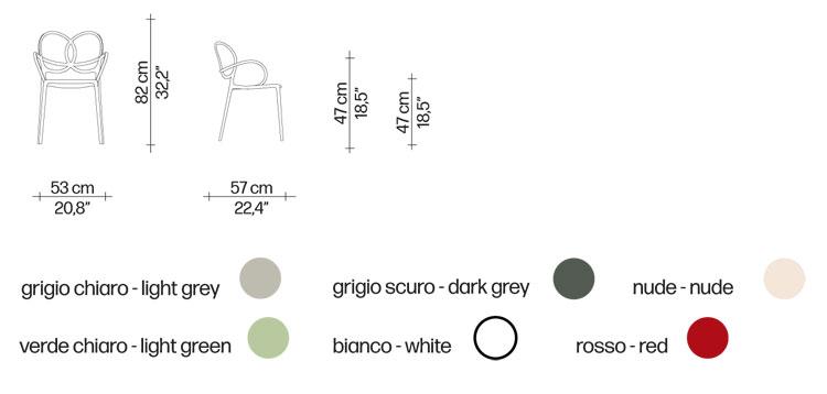 Poltroncina Sissi Driade dimensioni e colori