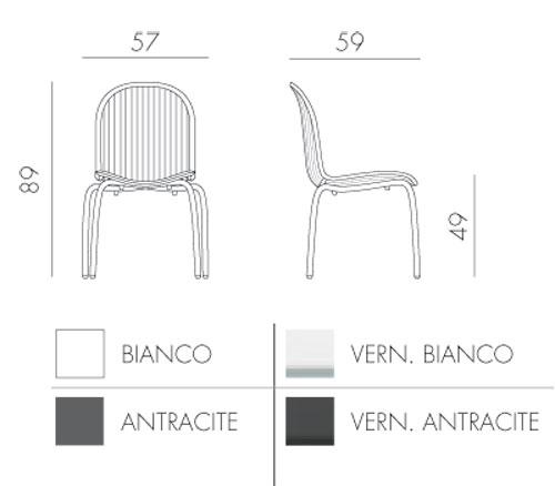 Chaise Ninfea Dinner Nardi dimensions et colours