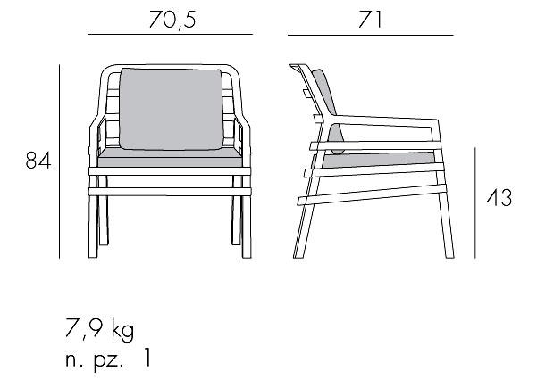 Sedia Aria Nardi misure e dimensioni
