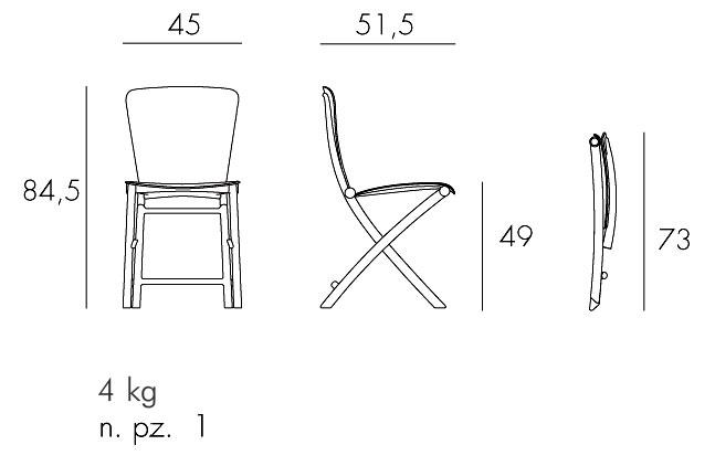 Sedia Zac Classic Nardi misure e dimensioni