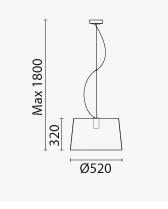 Lampada L001S/B Pedrali dimensioni e misure