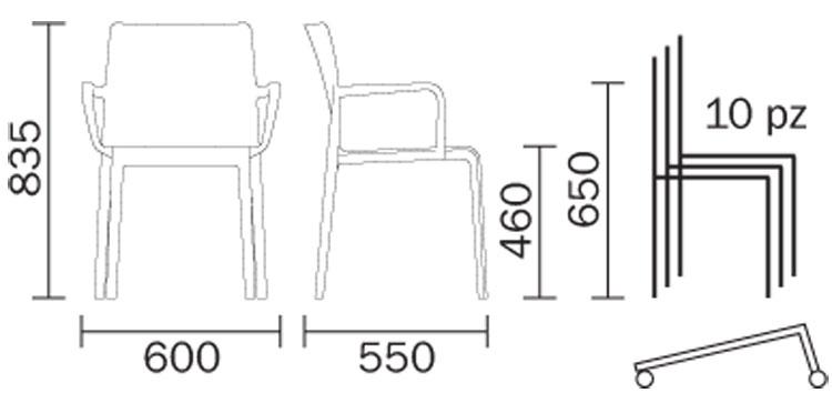 Sedia Volt Hb con braccioli Pedrali dimensioni e misure