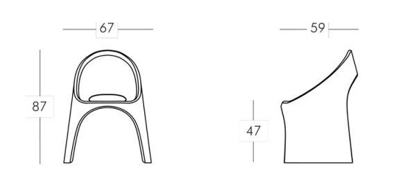 Amélie chair Tomasucci frame and dimensions