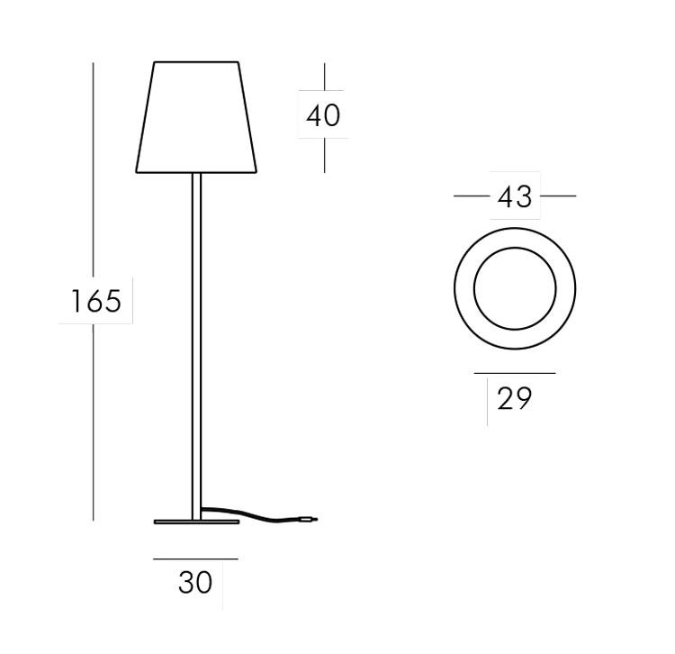 Lampe Ali Baba Steel Slide version 165 mesures et dimensions
